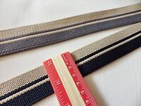 Patterned Reversible Polyprop Webbing / Strapping : Beige & Navy or Beige & Grey