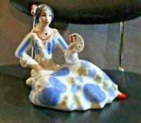 statuetta ceramica italiana anni '50 DONNA SEDUTA CON CARTE marchio 2C e CIGNO