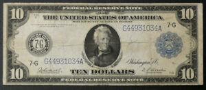 1914 $10 Chicago Fed Reserve Note FR-870 - Burke/Houston Signatures