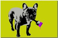 """BANKSY STREET ART CANVAS PRINT Dog Busted tagging 16""""X 12"""" stencil poster"""