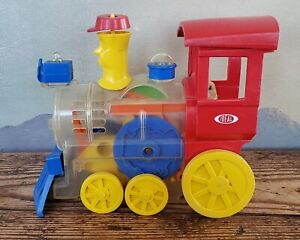 1974 Ideal Think & Learn Toot Loo Locomotive Engine Wind Up Whistling Toy Train