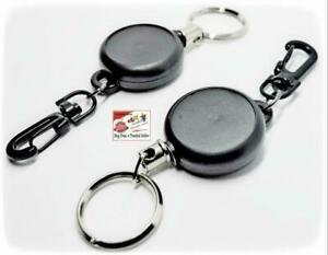 LANYARD ID CARD HOLDER KEYS CHAIN RETRACTABLE RECOIL SKI STEEL CORD