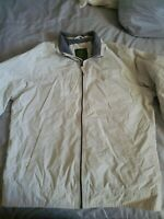 Timberland Mens Soft Lined Nylon Shell Full Zip Beige Windbreaker Coat Jacket L