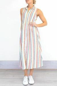Ex Fat Face Striped Dress Size 10 G5.14
