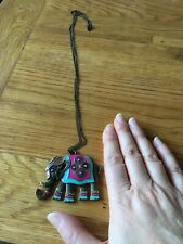 Metal And Enamel Large Elephant Pendant And Chain