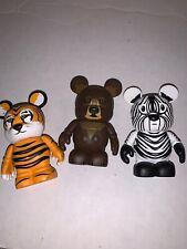 Lot of 4 Disney 3� Vinylmation Animal Kingdom Series Preowned Tiger Bear Zebra
