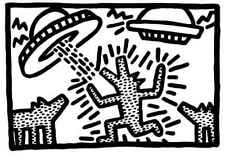 Keith Haring 1982 dogs with UFOs Abstract Contemporary Pop Art Print Poster sm