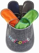 Set 4 Paia Pantofole Pattine Per Ospiti Feltro Misure 38-40-43-45 Vari Colori