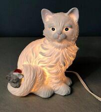 VINTAGE WHITE CAT KITTY & CHRISTMAS MOUSE NIGHT LIGHT HOUSE OF LLOYD 1989