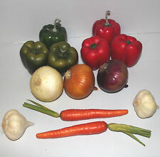 14 Piece Decorative Faux Fake Vegetables Peppers Onion Garlic Carrot GUC