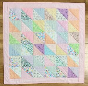 """Baby Quilt Handmade Girl's Pink Triangle Patchwork Crib Floral Back 42""""x 42"""""""