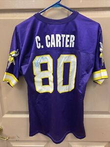 Cris Carter Minnesota Vikings NFL Jersey Youth Large 14-16 W/ Unknown Autograph