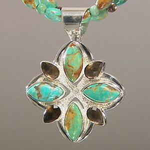 Jay King Turquoise and Quartz Silver Pendant and Double Strand Necklace NIB