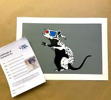 Not BANKSY 3D GLASSES RAT GRAY Print Original Art POW mrs love paint COA exit