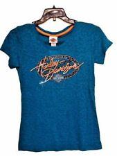 "Harley-Davidson Women's Blue Short SLeeve Burnout ""shine Oval"" Shirt XL"