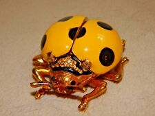 Yellow Polka Dot Ladybug Trinket Box - Austrian Crystals - Magnetic Close