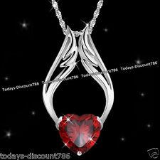 rouge coeur de cristal collier en Argent Amour Femme Couples Noël RARE CADEAU