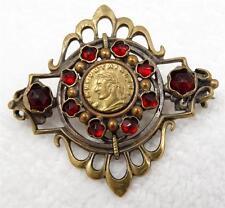 Antique Victorian Rose Cut Garnet Glass Etruscan Revival Medallion Brooch