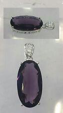 Colgante de cuarzo amatista facetado de color morado en plata. Tamaño: 40mm