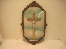 ANTIQUE RELIGIOUS BUBBLE GLASS METAL FRAME  CRUSSIFIX CROSS JESUS DECORATIVE