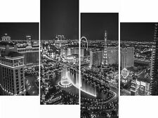 Large 4 Panel Canvas Picture Las Vegas Black & White Night City Wall Art Prints