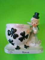 VTG NAPCO Ceramic St. Patrick's Day March Irish Boy Angel Planter Japan S626 HTF