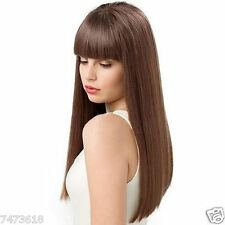 100% Real Hair! Fashion Long Brown Charming Silky Straight Neat Bang Women's Wig