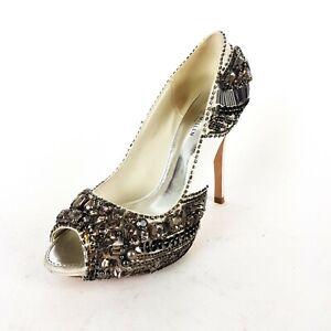 Karen MillenLadies Ivory Satin Rhinestone Embellished Stilleto Heel Shoes UK 4.5
