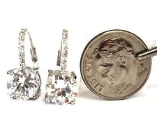 925 Sterling Silver 8mm round cubic zirconia CZ dangle earrings 3.9g leverback