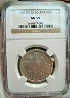 Choice AU 1897 PTS ES Bolivia Silver 50 Centavos 1/2 Boliviano - NGC AU58