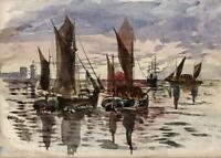 CAPTAIN JOHN HENRY HOWARD RN Watercolour Painting THAMES BARGES AT SUNSET c1895