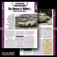 #hvf.42.03 SIMCA TALBOT STORY 1978-1985 Photos 1000 SOLARA SAMBA Car Fiche Auto