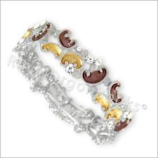 Magnetic Hematite Filigree Gold Enamelled with Clear Crystal  Bracelet / Bangle
