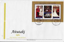 Aitutaki 2011 FDC Royal Wedding 2v Sheet Cover Prince William Kate Middleton