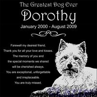 "Personalized West Highland Terrier Dog Pet Memorial 12""x12"" Granite Grave Marker"