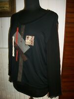 Tee shirt noir manche longue PAUSE CAFE T.44 stretch patchwork modal/polyester