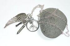 Guerra Y Paz-Pistola, Bullet, símbolo de la paz y angelwing encanto collar