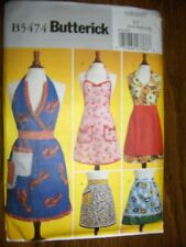 5 Vintage Aprons New Butterick 5474 Pattern Sizes 8-18