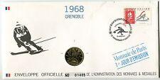 ENVELOPPE OFFICIELLE MONNAIE DE PARIS JO 1992 ALBERTVILLE 1968 GRENOBLE