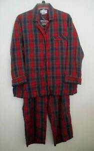 Womens Cabernet Petites Sleepwear Dark Plaid Flannel Pajama Set, Size PL