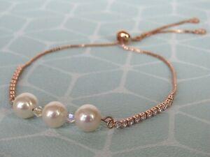 Freshwater Pearl Adjustable Rose Gold Plated Slider Bracelet