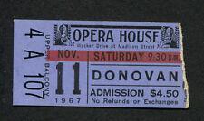 Original 1967 Donovan concert ticket stub Chicago Opera House Mellow Yellow