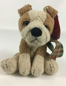 """Holiday Hounds 5"""" Plush Puppy Dog Scarf Bean Bag Stuffed Christmas Toy Applause"""