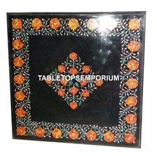 "24"" Black Marble Side Coffee Table Top Hakik Inlay Floral Art Living H4418"