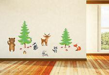 Waldtiere XXL Wandtattoo Kinderzimmer Tiere Bäume Reh Fuchs Eule Bär uvm. A041