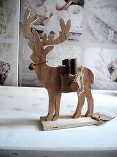 Weihnachten Elch Rentier Deko Holz braun Shabby chic Nostalgie Vintage