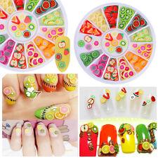 12Patterns 3D Tiny Fruit Fimo Slice Colorful Nail Art Sticker Tip Nail Decor DIY