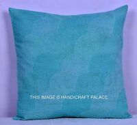 INDIAN KANTHA LOOK TURQUOISE CUSHION COVER PILLOW CASE SOLID THROW DECOR 16""