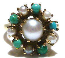 ANTIQUE NOUVEAU DECO 14K YELLOW GOLD PERSIAN TURQUOISE PEARL RING SIZE 4.75