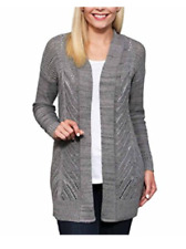 Leo & Nicole Womens Marled Rib Trim Pointelle Cardigan Large Iron Gate Marl